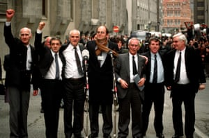 The Birmingham Six pictured on 14 March 1991, the day their convictions were quashed. Left to right: John Walker, Paddy Hill, Hugh Callaghan, Chris Mullin MP (who campaigned for their release), Richard McIlkenny, Gerry Hunter and William Power.