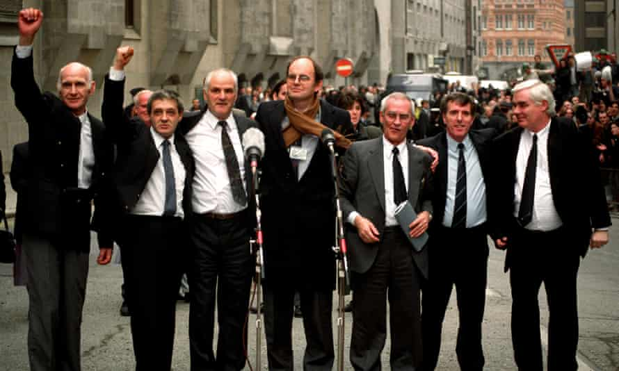 The Birmingham Six outside the Old Bailey in London, after their convictions were quashed. (Left to right) John Walker, Paddy Hill, Hugh Callaghan, Chris Mullen MP, Richard McIlkenny, Gerry Hunter and William Power.