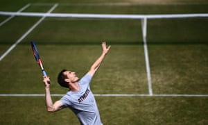 Murray practices at the All England Club on Friday