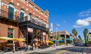 Shops, bars and restaurants on Seventh Avenue in the historic Ybor City area of Tampa, Florida.