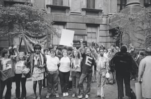 The women of the Gay Liberation Front demonstrate in front of New York City's Criminal Court building, 1970.