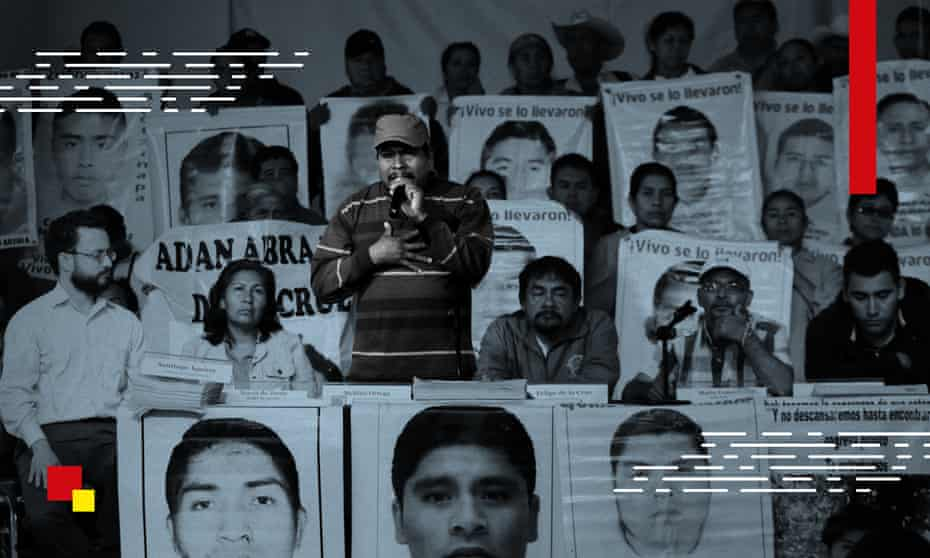 Melitón Ortega, father of one of the missing students from Ayotzinapa teacher training college, speaks alongside other relatives in Mexico City in 2015