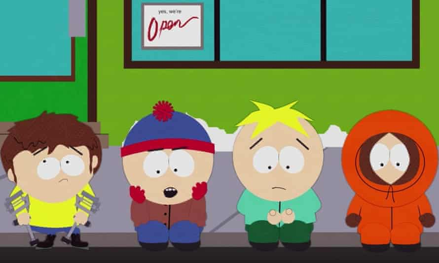 A screenshot of the South Park episode Band in China, which was highly critical of the country and led to the show being censored.