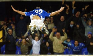 Shefki Kuqi celebrates in trademark fashion after scoring for Ipswich Town against Crewe Alexandra in 2004.