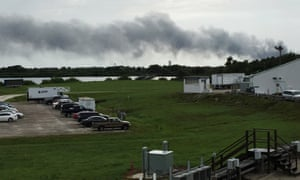 Smoke rises from a SpaceX launch site on Thursday in Cape Canaveral, Florida.