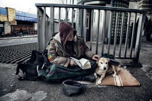 Paul, homeless with his dog outside Waterloo Station