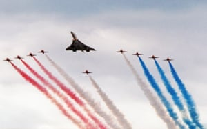 On 2 June 1996, Heathrow Airport marked its 50th anniversary with a flypast of representative airliner types that have served the airport over the years. This culminated in a formation flypast by Concorde with Hawks of the RAF Red Arrows aerobatic team
