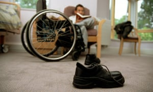 Disabled male in a residential care home.
