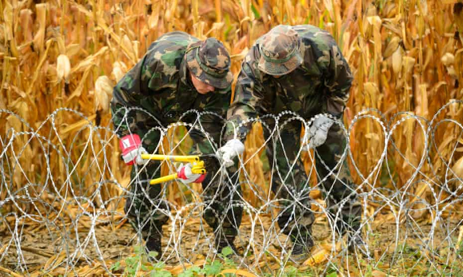 Hungarian soldiers clearing up a barbed wire fence on the Slovenian-Hungarian border