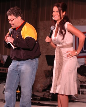 In this handout photofrom 2006 provided by the US Army, Comedian Al Franken and sports commentator Leeann Tweeden perform a comic skit on camp Thursday in front of more than 2,000 elated servicemembers during the USO Sergeant Major of the Army's 2006 Hope and Freedom Tour.