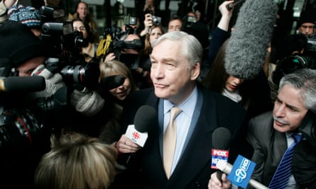 Conrad Black leaves a federal building in Chicago on 10 December 2007 after sentencing in his racketeering and fraud trial.