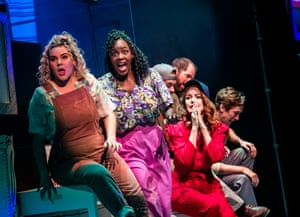 Approaching musical tragedy … Natasha J Barnes, Gemma Knight-Jones and Laura Pitt-Pulford in Falsettos at the Other Palace, London.