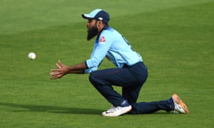 Adil Rashid of England takes the catch to dismiss Curtis Campher of Ireland.