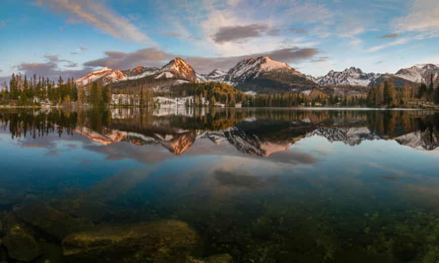 A mountain lake in the High Tatras at sunset