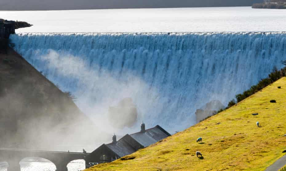 Caban Coch Dam in Elan Valley, Wales