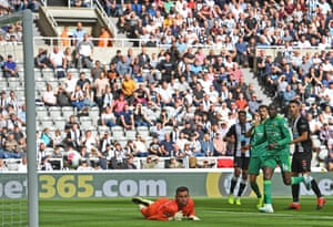 Fabian Schär scores for Newcastle in front of their lowest league gate in seven years.