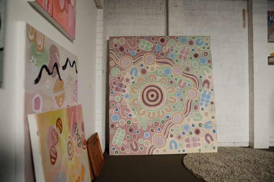 Indigenous artworks in a studio