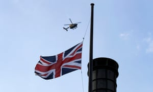 A union jack at half-mast in Westminster.