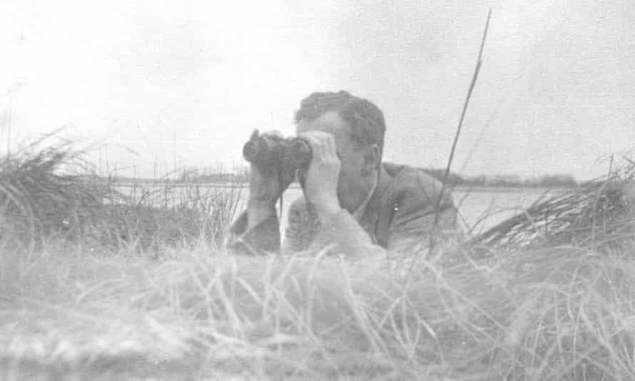 Benjamin Britten birdwatching in Aldeburgh in the 1950s.