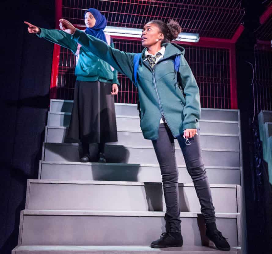 Tsion Habte (Iqra) and Adelayo Adedayo (Muna) in Cuttin' It by Charlene James.