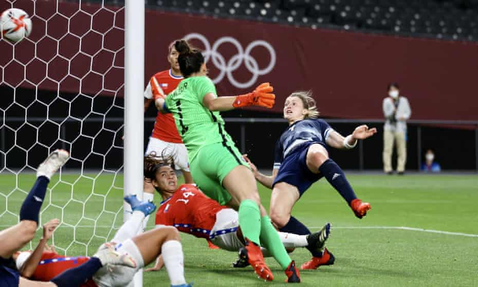 Ellen White gives Team GB the lead against Chile.