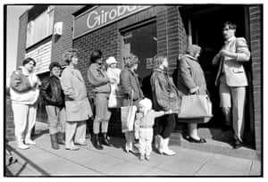 Child benefit day, Scotswood post office, 1988.