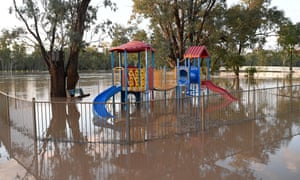 Playground surrounded by flood water