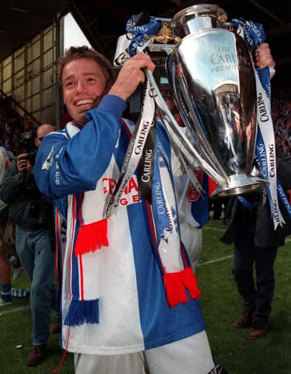Le Saux holds aloft the Premiership trophy in 1995