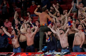 CSKA Moscow fans enjoy the mild weather at the Emirates.