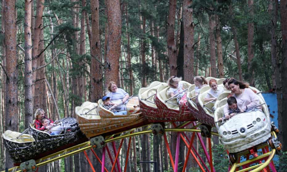 Full of fear, but fun ... riding a rollercoaster in Domodedovo, Russia.