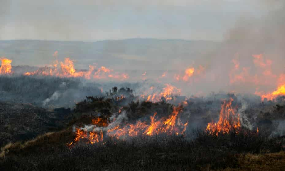 One of more than 700 moorland fires recorded in Yorkshire this season. April 2021