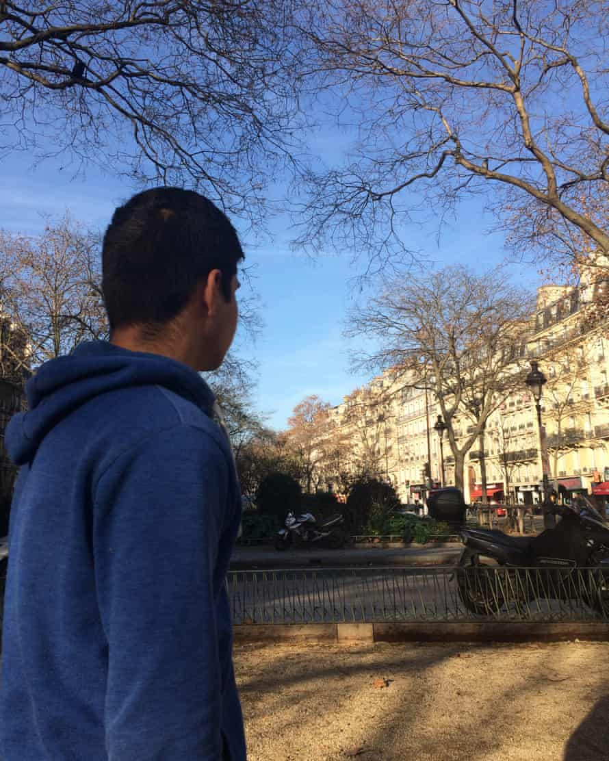 Jamail, 14, in Paris. He fled the Taliban in Afghanistan and hopes to be reunited with his brother in Northampton.