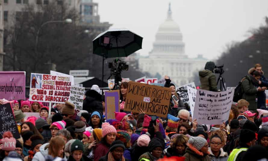 Thousands of people participate in the third annual Women's March at Freedom Plaza in Washington DC on Saturday.