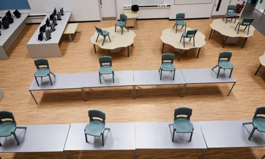 An empty classroom at St Ambrose Barlow RC high school