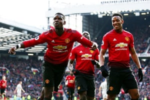 Paul Pogba of Manchester United celebrates scoring the opener from the penalty spot to make it 1-0 against West Ham at Old Trafford, before scoring a second penalty in the 80th minute to beat The Hammers 2-1.