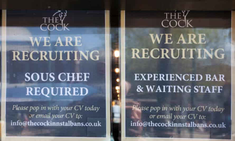 'We are hiring' notices for the Cock Inn