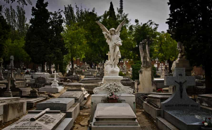 A sculpture angel in Our Lady of Almudena CemeteryMadrid city, Spain