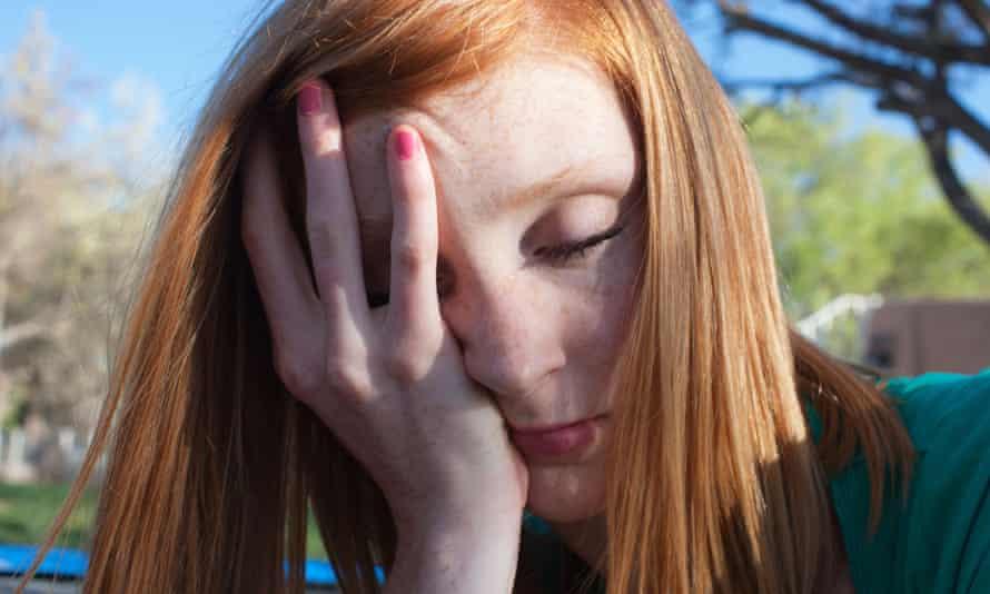 Teenage girl looking tired