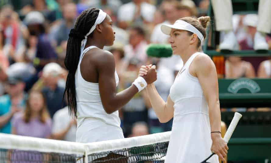 Cori Gauff, left, shakes hands with Simona Halep after her fourth-round exit at Wimbledon.