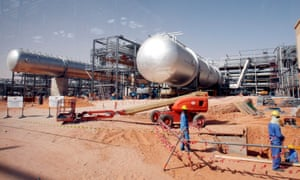 Workers at a construction site at Khurais oilfield in Saudi Arabia