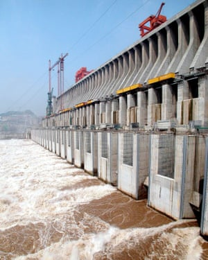 The Yangtze River runs through the discharging dam of the Three Gorges hydropower project.
