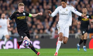 Kevin De Bruyne was moved forward from his usual midfield role for Manchester City against Real Madrid.