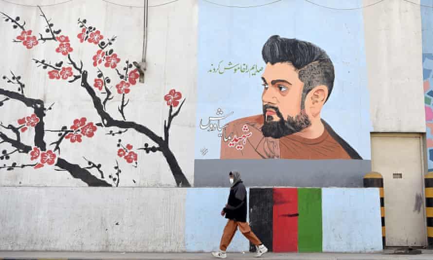 Mural of former Tolo TV presenter Yama Siawash
