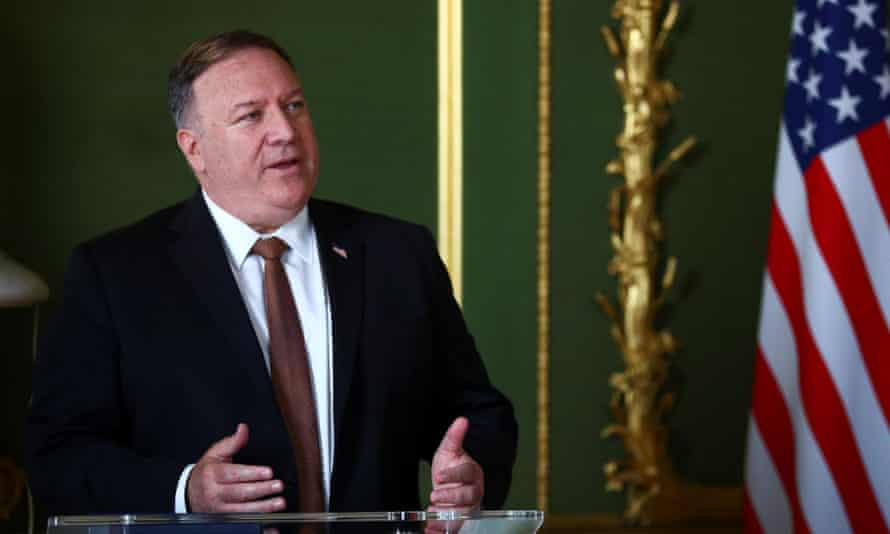 US secretary of state Mike Pompeo at a joint press conference with the UK foreign secretary Dominic Raab on Tuesday.
