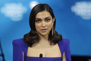 Actress Deepika Padukone, from India, addresses the audience after receiving a Crystal Award from Hilde Schwab, Chairwoman and Co-Founder of the World Economic Forum's World Arts Forum, during the ceremony for the Crystal Awards at the annual meeting of the World Economic Forum in Davos.