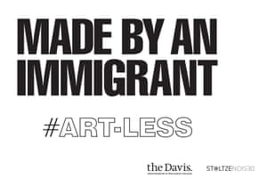 One of the signs, which have been put in place of removed artworks. An alternative states 'Given By An Immigrant'. All photographs courtesy of The Davis Museum