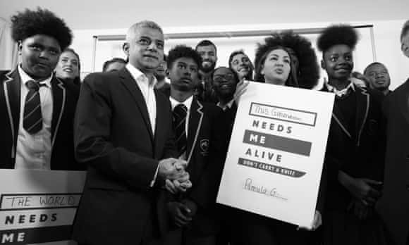 Sadiq Khan and students from Evelyn Grace Academy