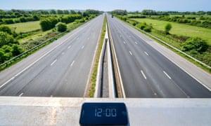 The M5 motorway at Highbridge in Somerset on 22 April