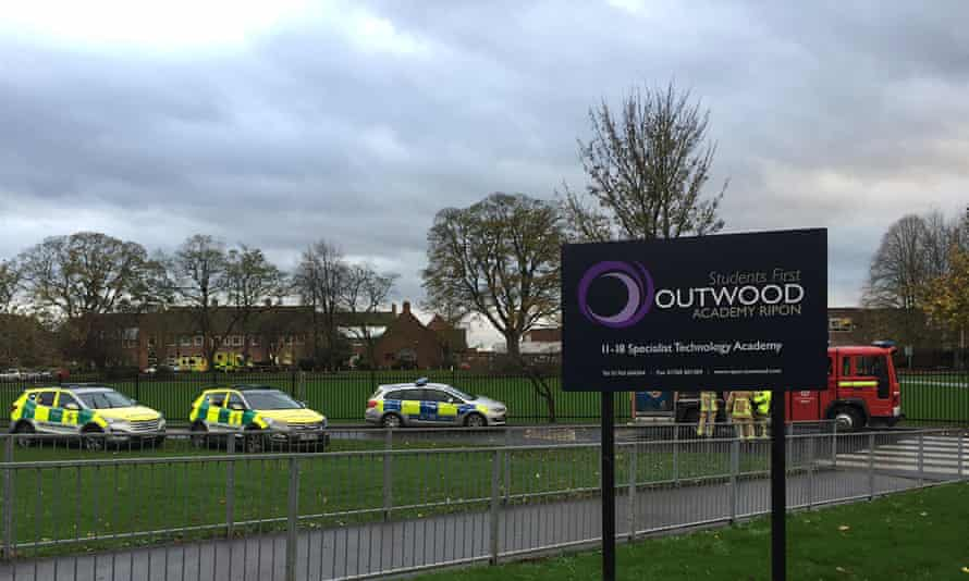 Ambulances, a hazardous materials team and the fire brigade were called to Outwood Academy yesterday after a number of children were taken ill.