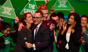 At least the Greens are happy – they won Melbourne. Here, Greens Leader Richard Di Natale hugs candidate for Melbourne Ports, Stephanie Hodgins-May.